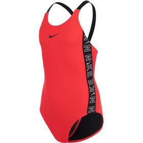 Nike Swim Logo Tape Fastback One Piece Swimsuit Girls, rosso
